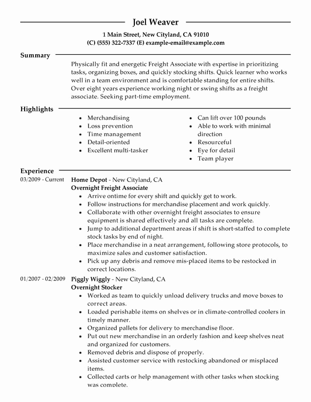 Part Time Job Resume Best Of Part Time Overnight Freight associates Resume Examples