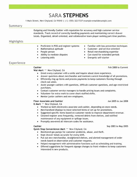 Part Time Job Resume Lovely Best Part Time Cashiers Resume Example