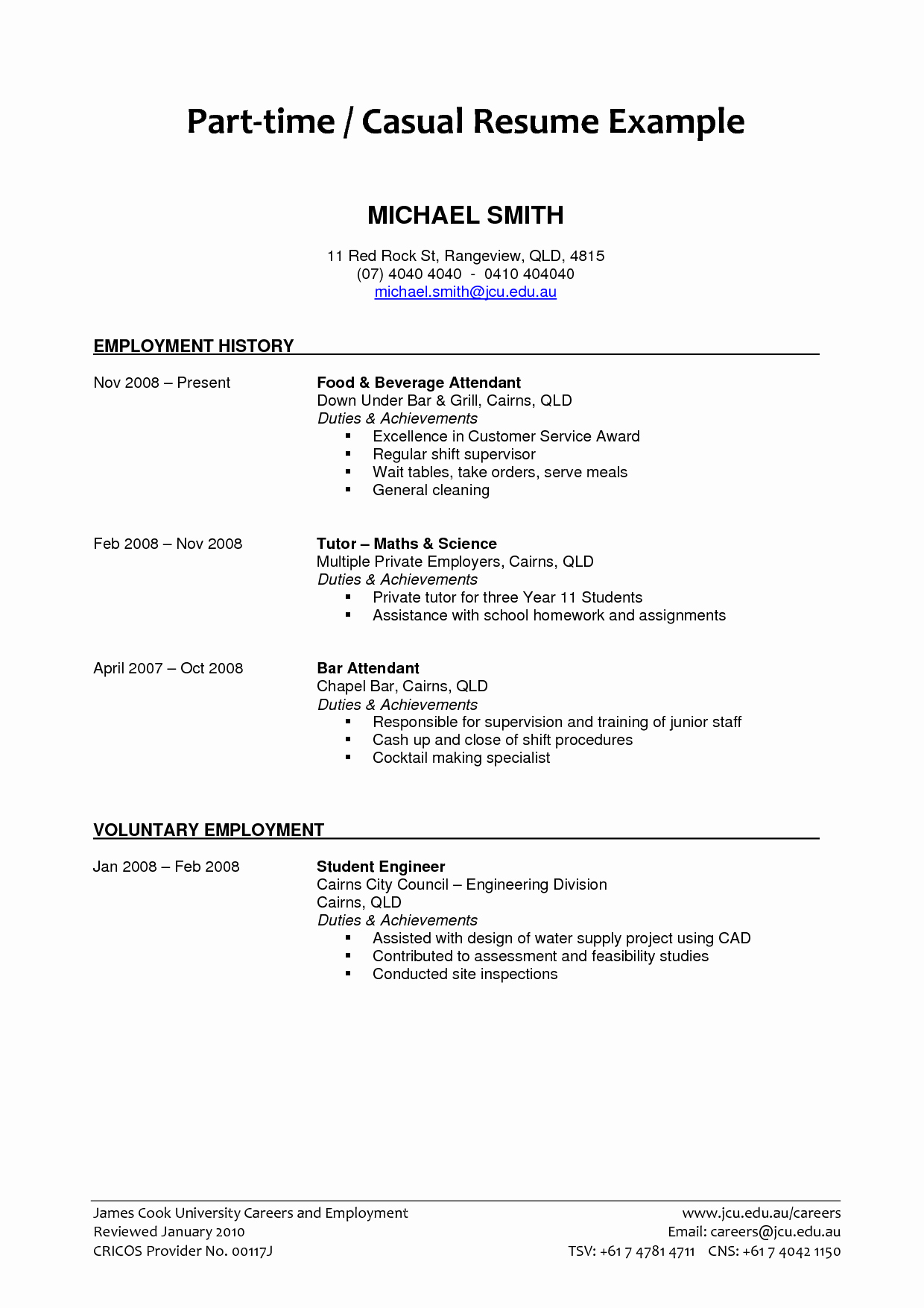Part Time Job Resume Lovely Part Time Job Resume Examples 2019