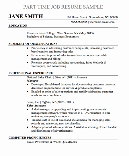 Part Time Job Resume New Resume Samples and Templates