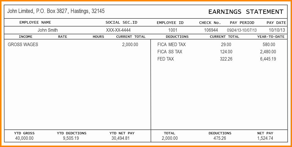 Pay Stub Template Excel Beautiful 9 Free Editable Pay Stub Template