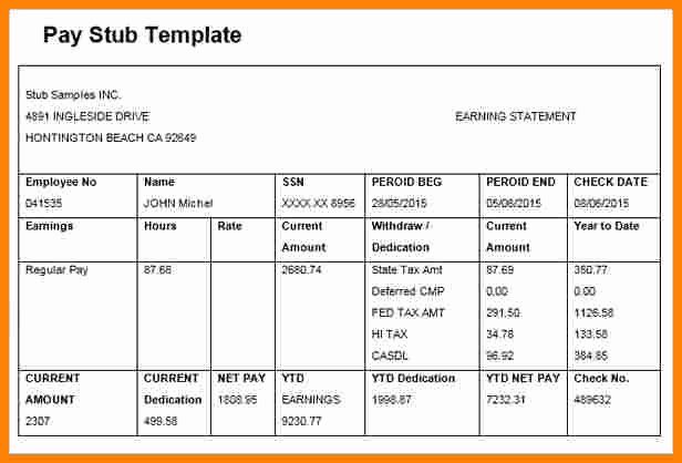 Pay Stub Template Excel Luxury 5 Paycheck Template Microsoft Word