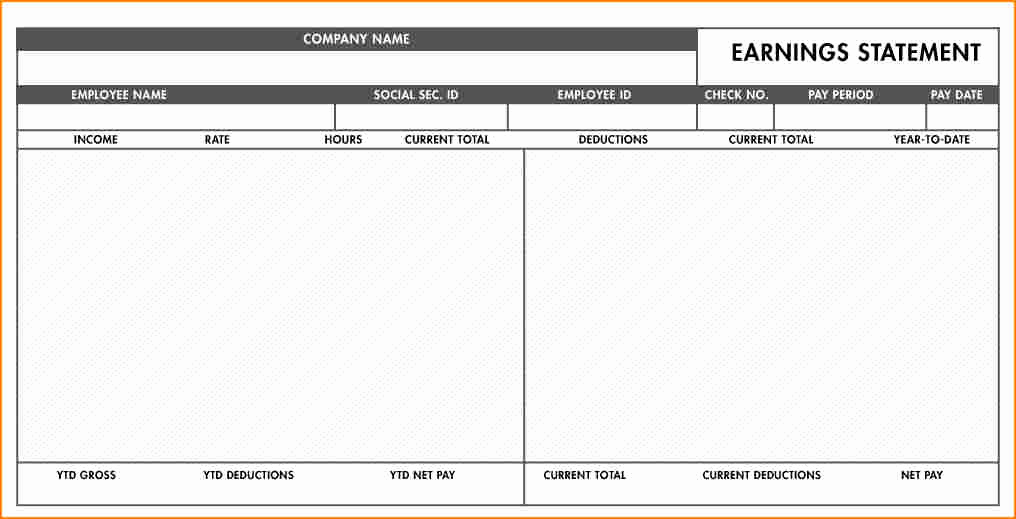 Pay Stub Template Excel Luxury 8 Fillable Paycheck Stub Template