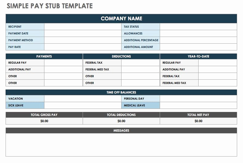 Pay Stub Template Excel New Free Pay Stub Templates