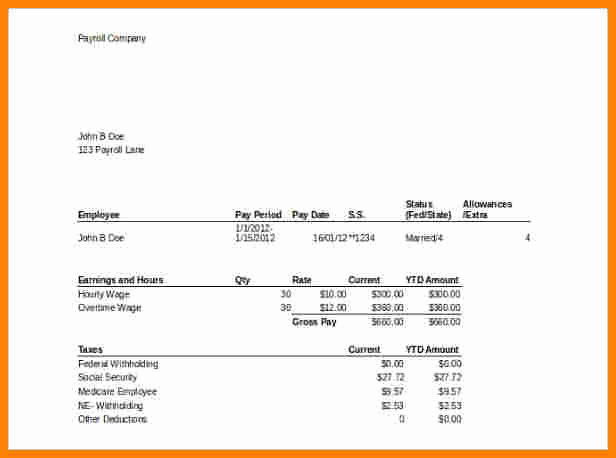 Pay Stub Template Excel Unique 7 Pay Stub Template Microsoft Office