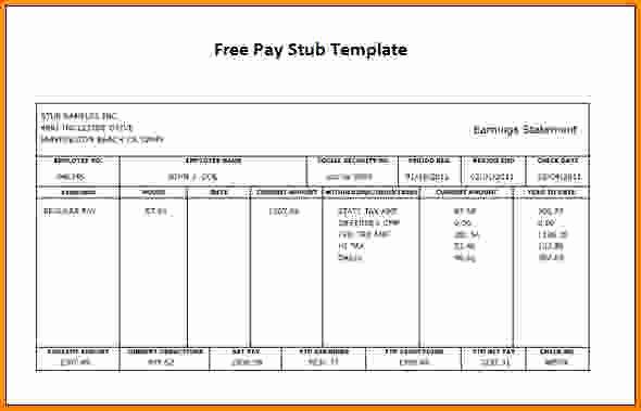 Pay Stub Template Word Fresh Free Printable Check Stubs