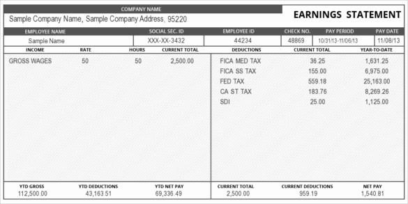 Pay Stub Template Word Luxury 24 Pay Stub Templates Samples Examples & formats