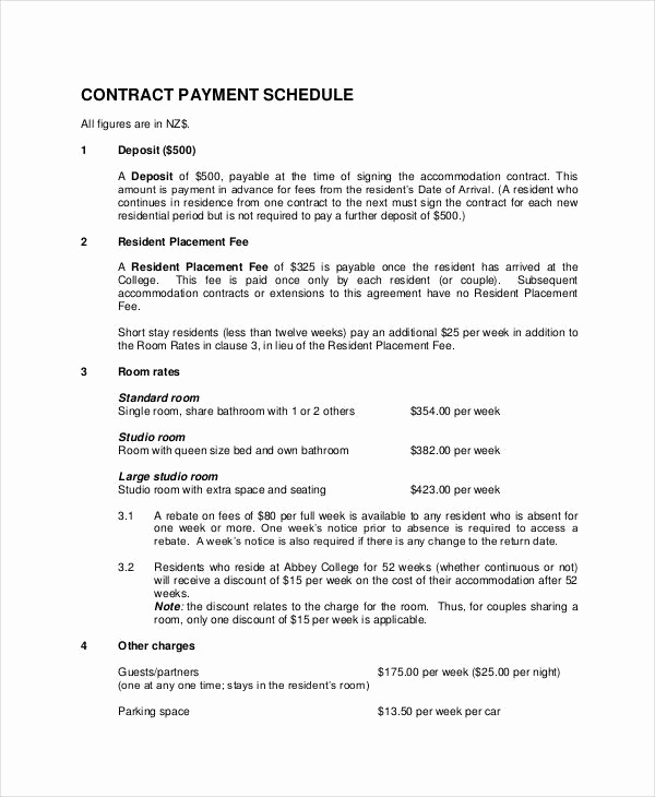 Payment Agreement Contract Pdf Inspirational Contract Payment Schedule Template 10 Free Word Pdf