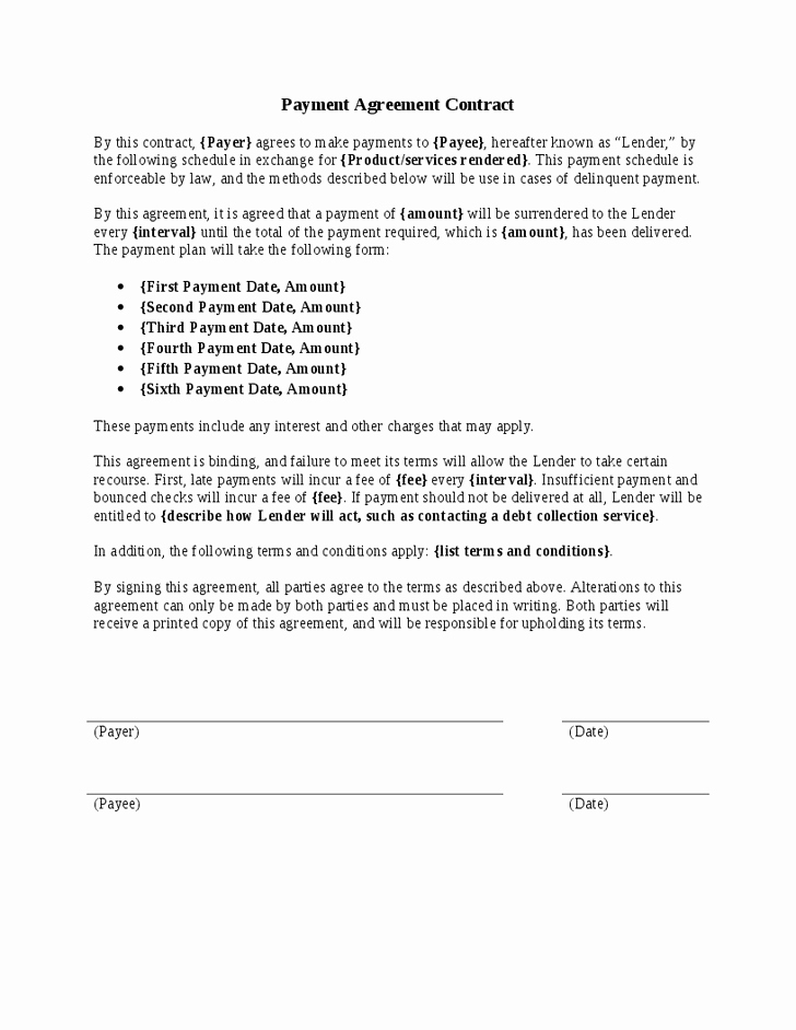 Payment Agreement Contract Pdf Luxury 5 Payment Agreement Templates Word Excel Pdf formats