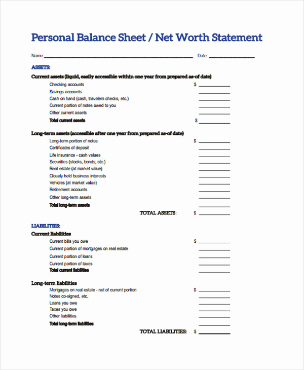 Personal Balance Sheet Example Inspirational 10 Balance Sheet Templates Free Sample Example format