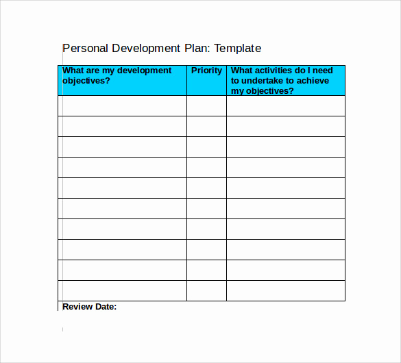 Personal Development Plan Template Awesome 9 Development Plan Templates to Free Download