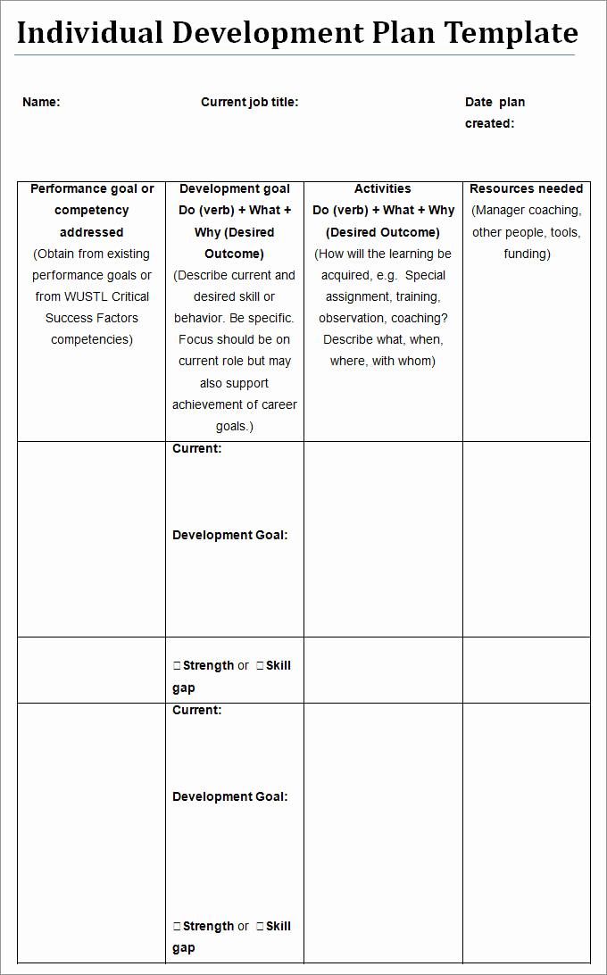 Personal Development Plan Template Inspirational Individual Development Plan Template 11 Free Pdf Word
