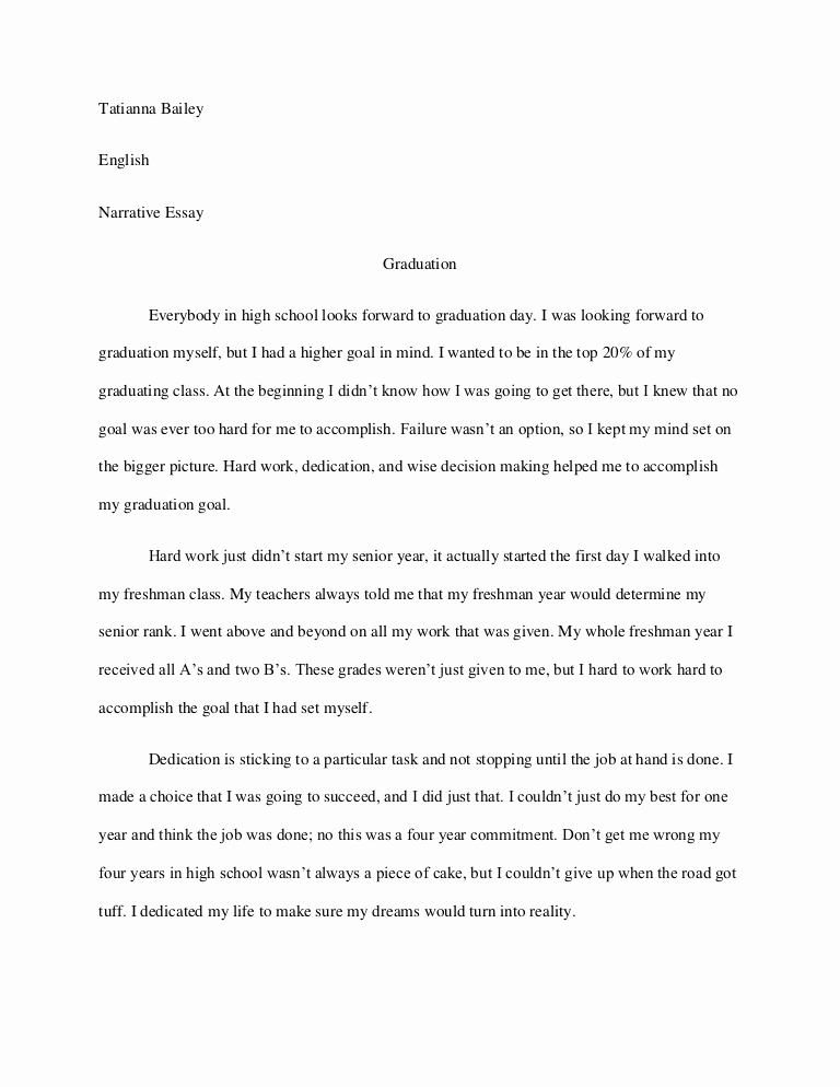 Personal Essay About Yourself Examples Inspirational Graduation Narrative Essay
