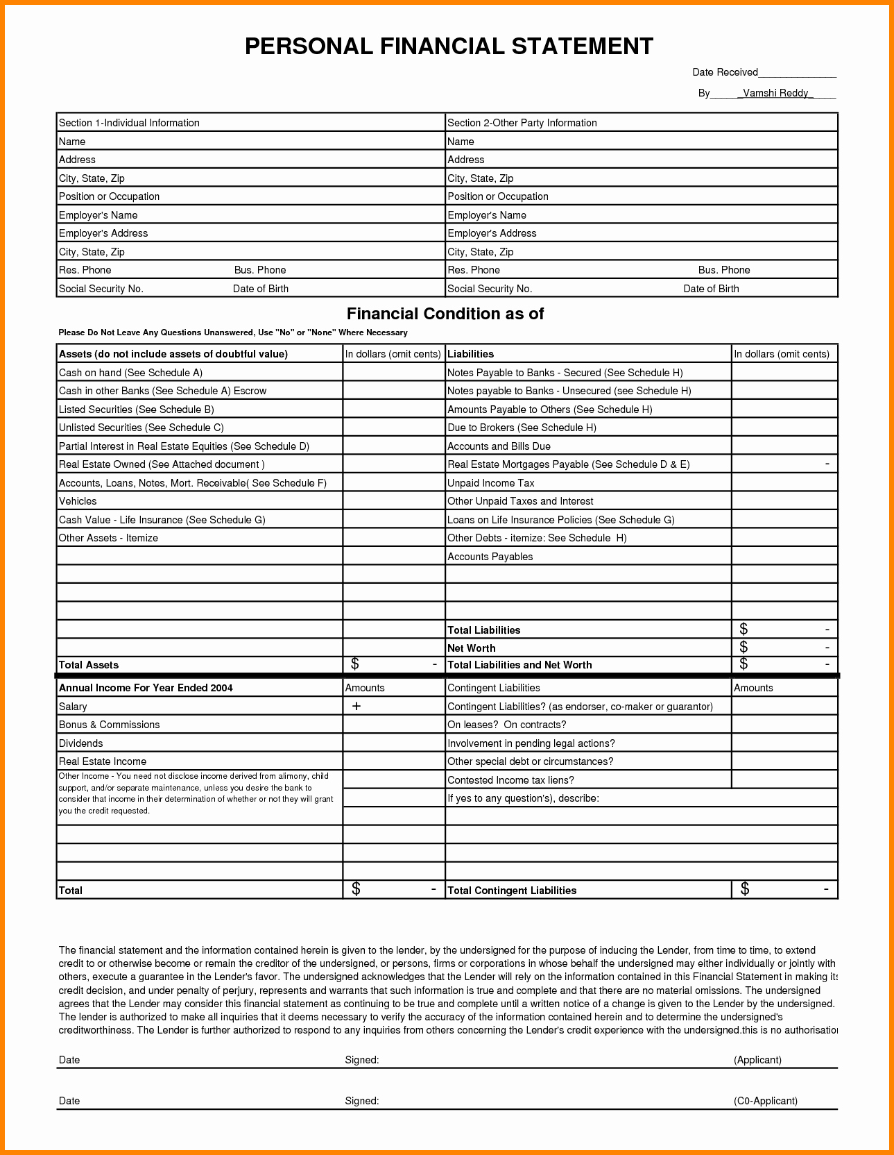 Personal Financial Statement Excel Fresh 8 Personal Financial Statement Template Excel