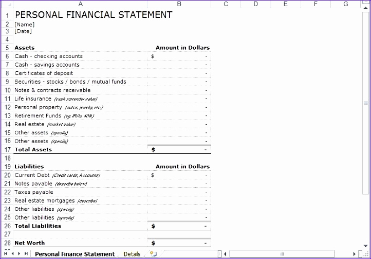 Personal Financial Statement Excel Fresh 9 Personal Financial Statement Template Excel Free