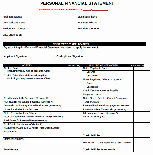 Personal Financial Statement Pdf Best Of Sample Personal Financial Statement form 7 Download