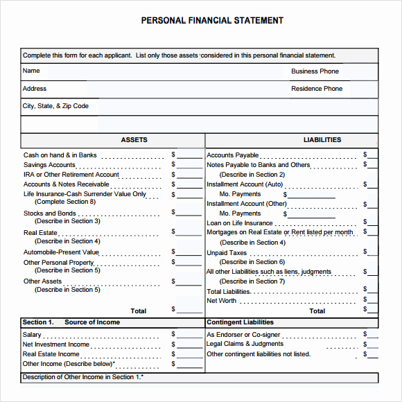 Personal Financial Statement Pdf Elegant Personal Financial Statement form – 7 Free Samples