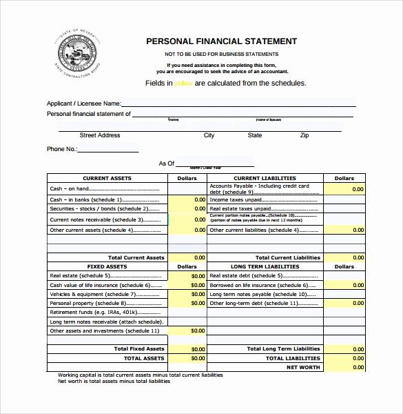 Personal Financial Statement Pdf Luxury 15 Personal Financial Statement form – Free Samples