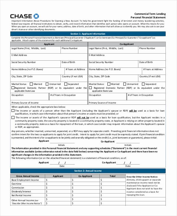 Personal Financial Statement Pdf Unique Personal Financial Statement 9 Free Excel Pdf