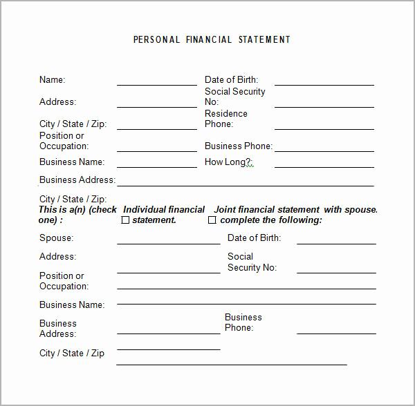 Personal Financial Statement Worksheet Inspirational Personal Financial Statement Templates 15 Download Free