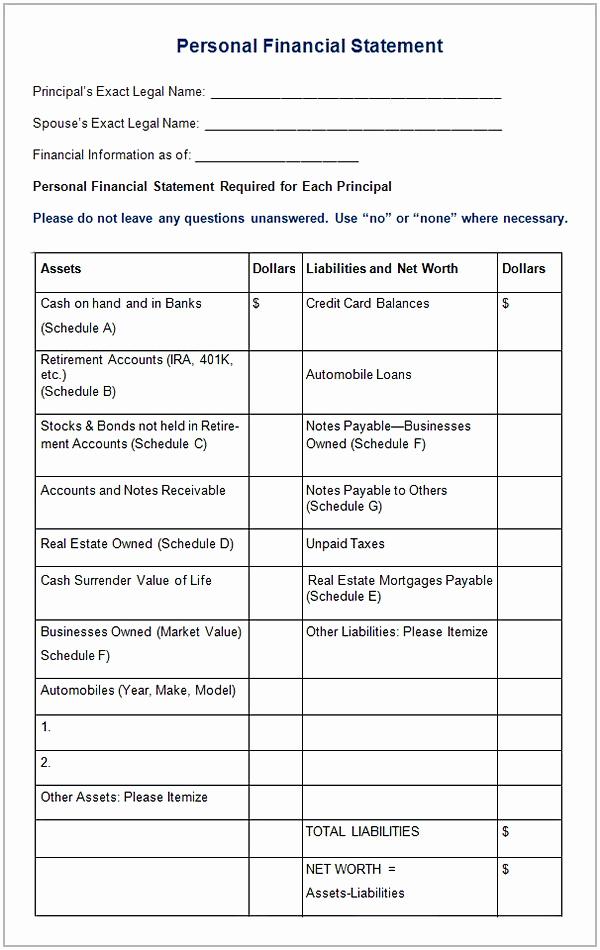 Personal Financial Statement Worksheet Inspirational Personal Financial Statement Worksheet