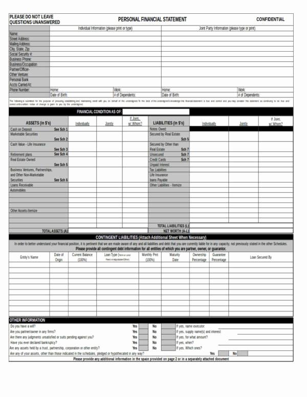 Personal Financial Statement Worksheet Unique 13 Personal Financial Statement Samples & Templates