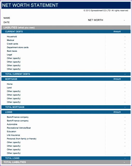 Personal Financial Statement Worksheet Unique 8 Excel Net Worth Template Exceltemplates Exceltemplates