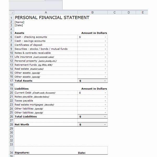 Personal Financial Statement Worksheet Unique E Stop Guide to Financial forecasting Including Free