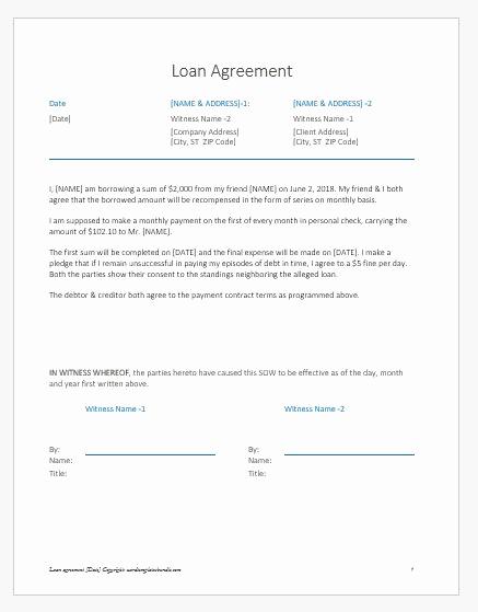 Personal Loan Agreement Between Friends Luxury Loan Agreement Letter Note Between Friends
