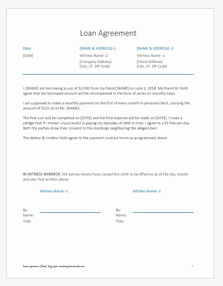 Personal Loan Agreement Between Friends New Loan Agreement Letter Note Between Friends
