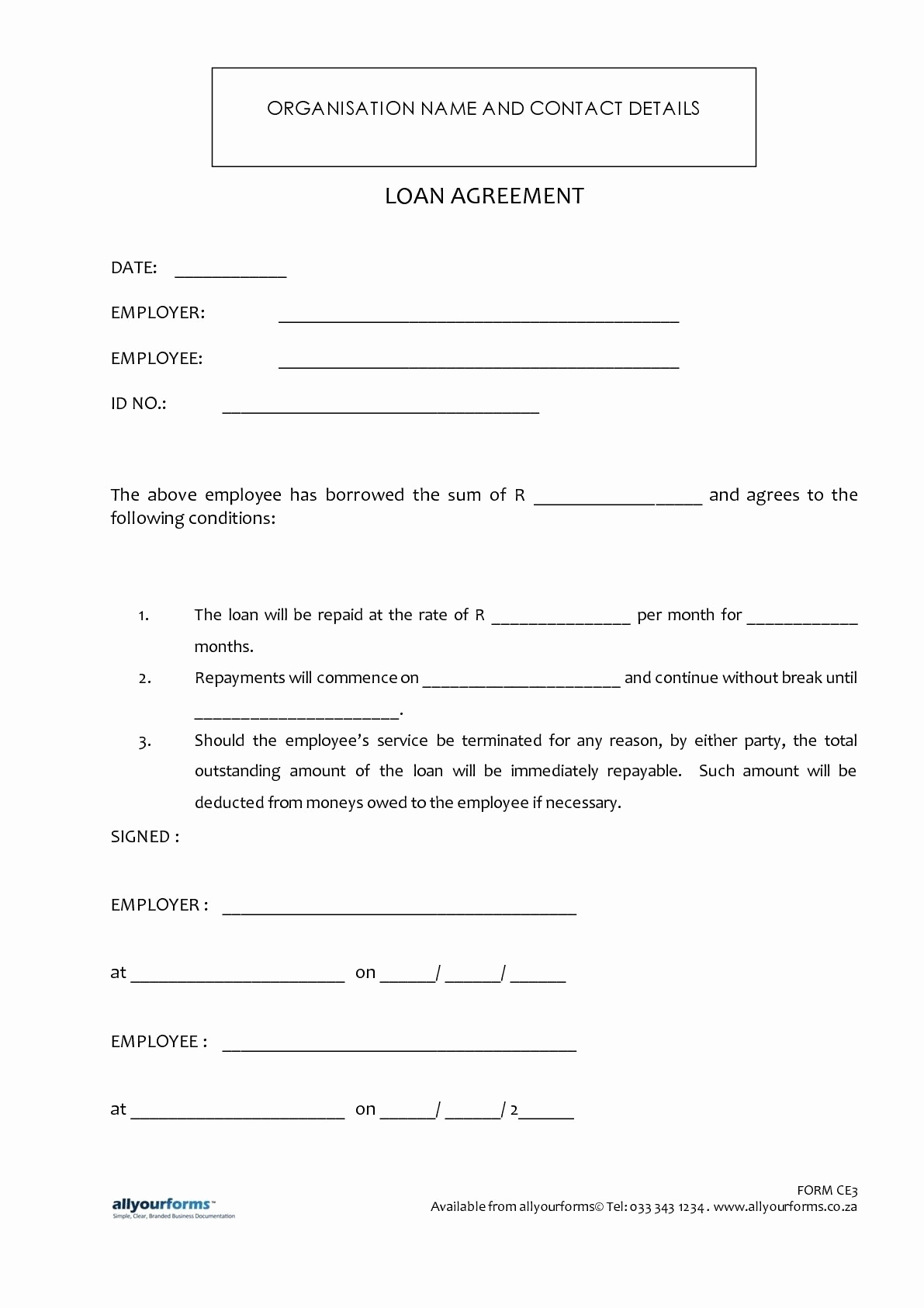 Personal Loan Agreement Between Friends Unique Printable Sample Loan Template form