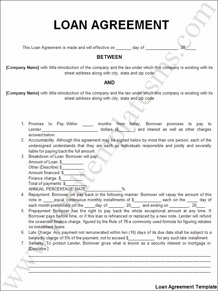 Personal Loan Agreement Pdf Lovely Printable Sample Personal Loan Agreement form