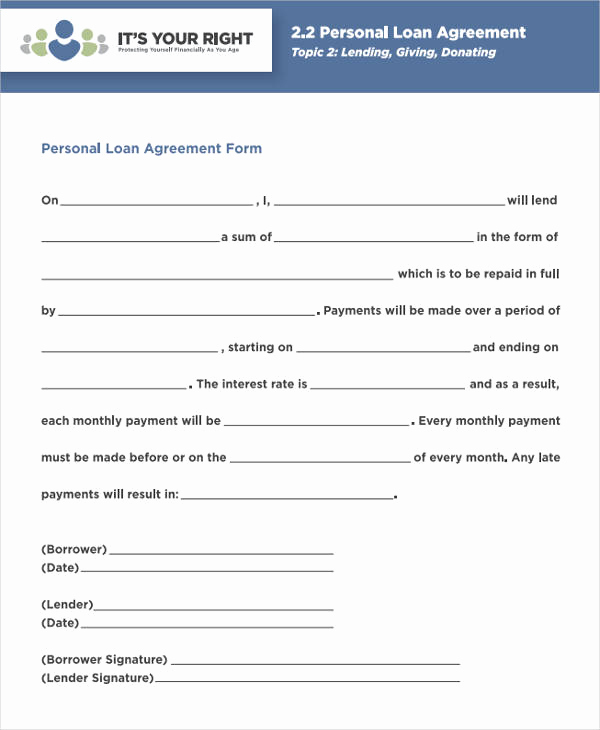 Personal Loan Agreement Pdf New 38 Agreement form Samples