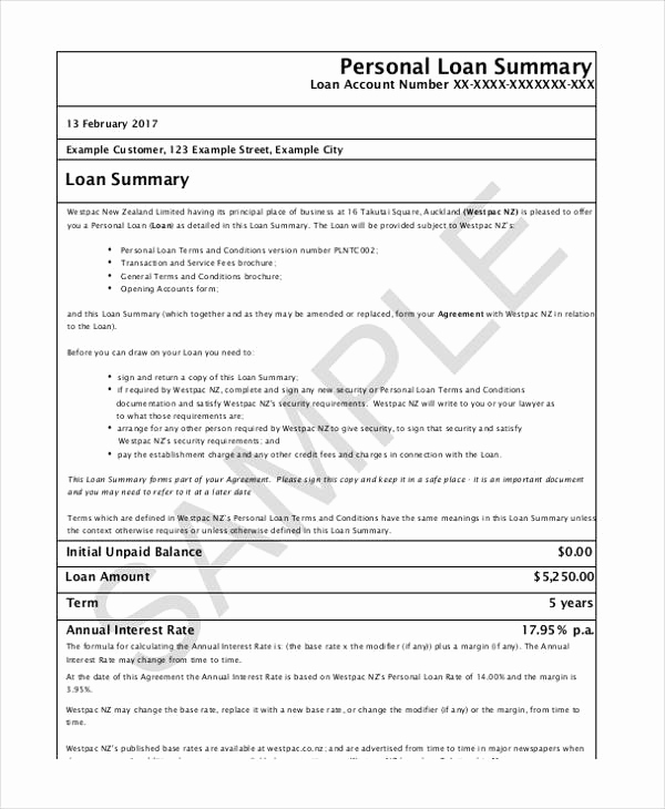 Personal Loan Agreement Pdf Unique Free Loan Agreement form