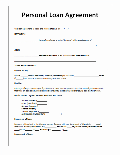 Personal Loan Agreement Template Best Of 45 Loan Agreement Templates & Samples Write Perfect