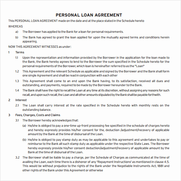 Personal Loan Agreement Template Inspirational 9 Loan Agreement Samples Pdf Word