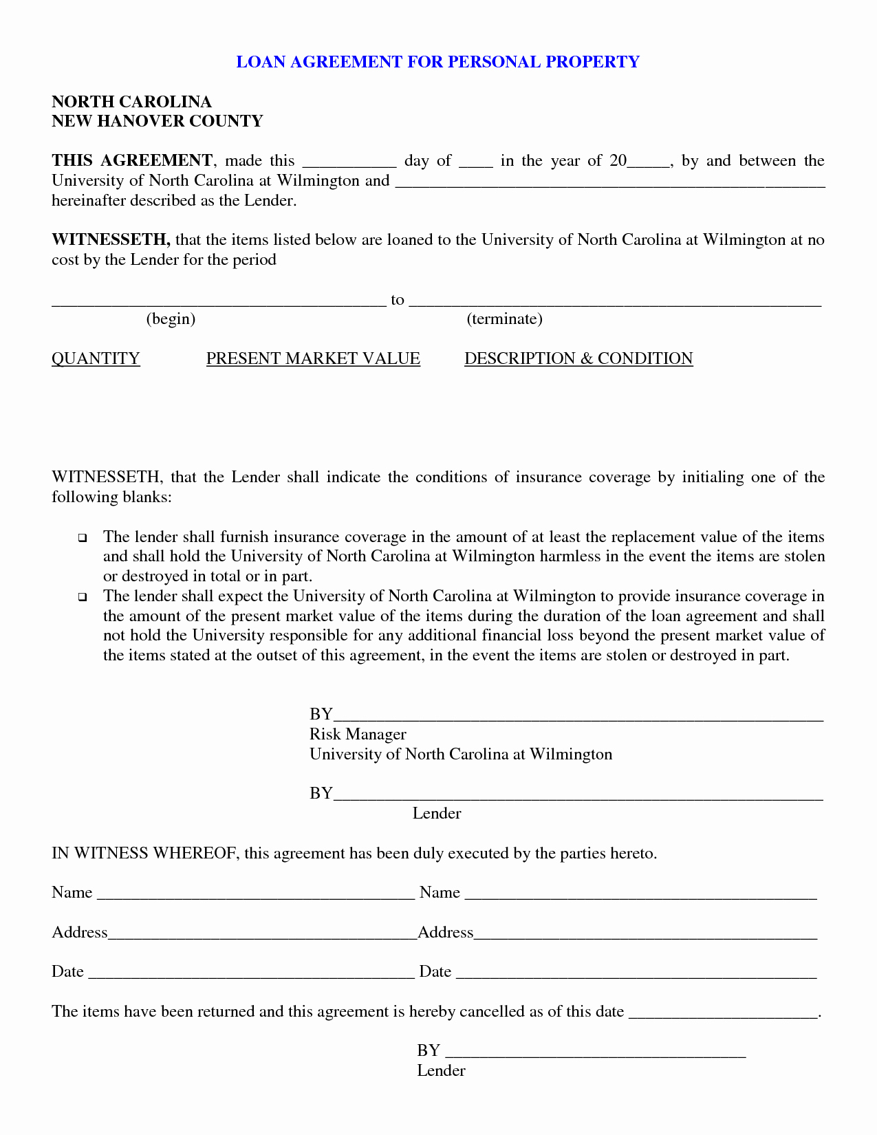 Personal Loan Agreement Template Inspirational Free Printable Personal Loan Contract form Generic