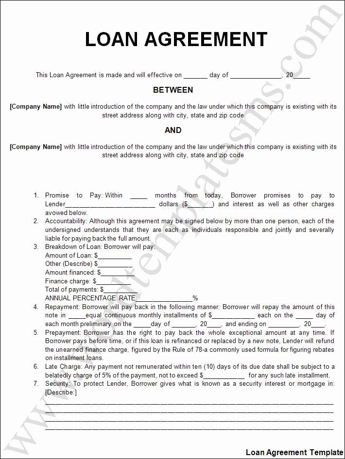 Personal Loan Agreement Template Luxury Printable Sample Personal Loan Agreement form