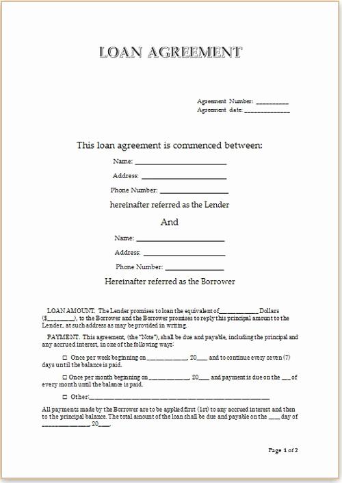 Personal Loan Agreement Template Luxury Simple Loan Agreement