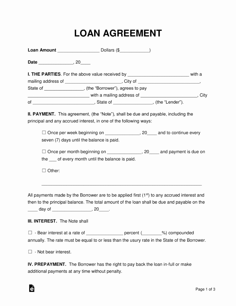 Personal Loan Agreement Template Unique Free Loan Agreement Templates Pdf Word