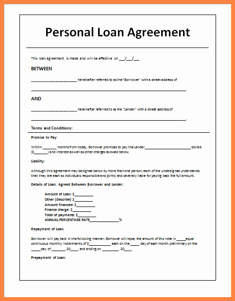 Personal Loan Agreement Templates Awesome 5 Sample Loan Agreement Letter Between Friends