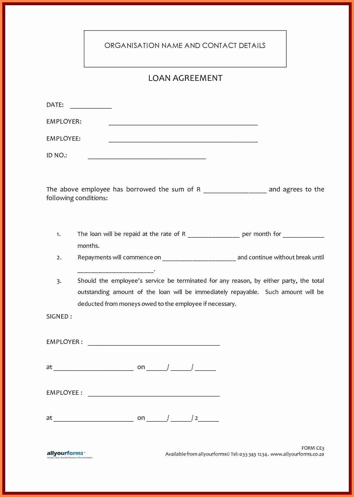 Personal Loan Agreement Templates Elegant 6 Sample Personal Loan Agreement Template