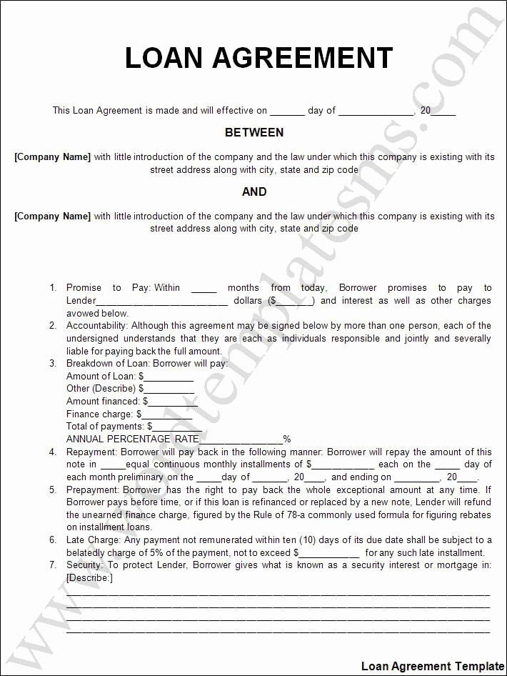 Personal Loan Agreement Templates Fresh Free Printable Personal Loan Agreement form Generic