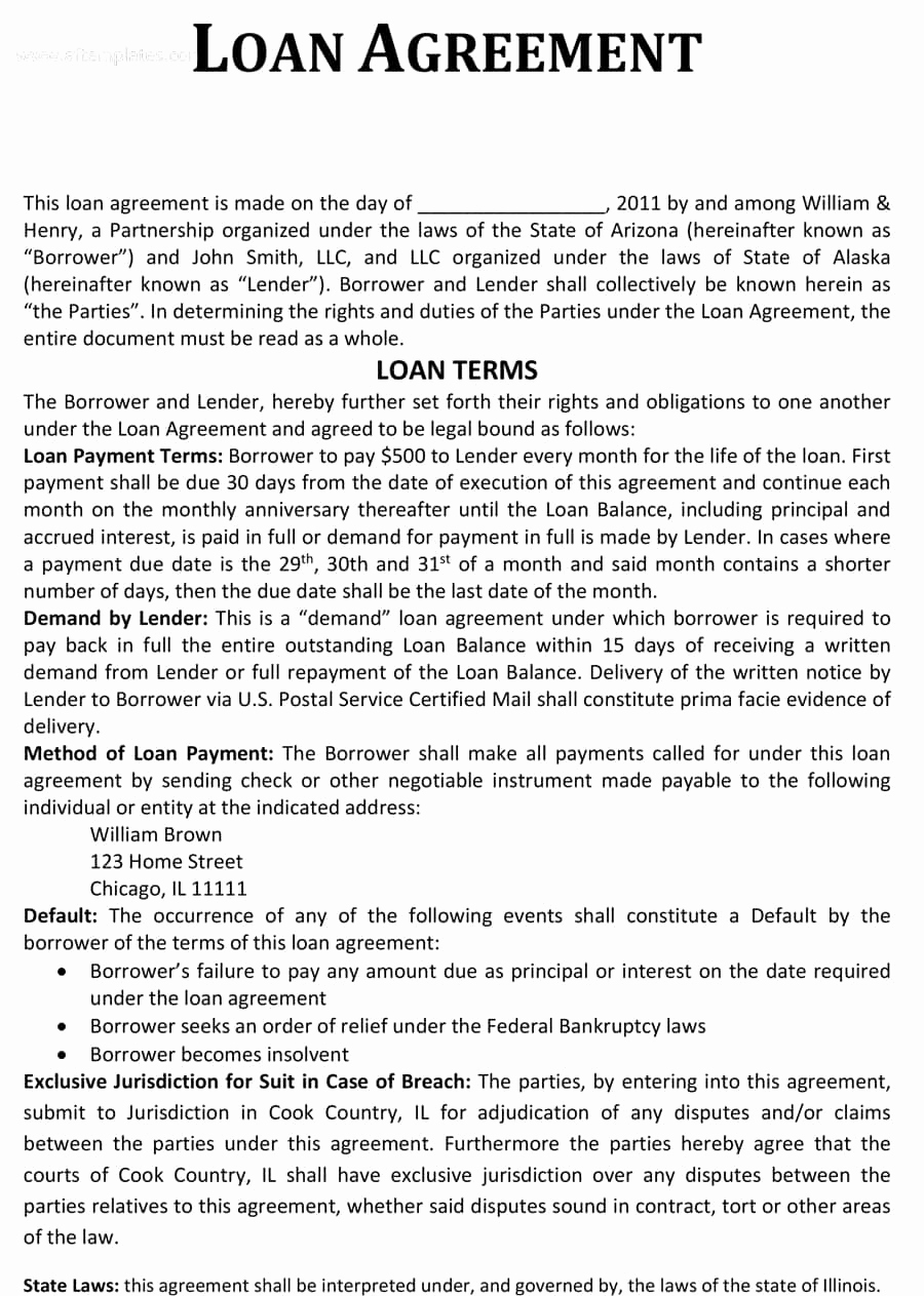 Personal Loan Agreement Templates Unique 40 Free Loan Agreement Templates [word & Pdf] Template Lab