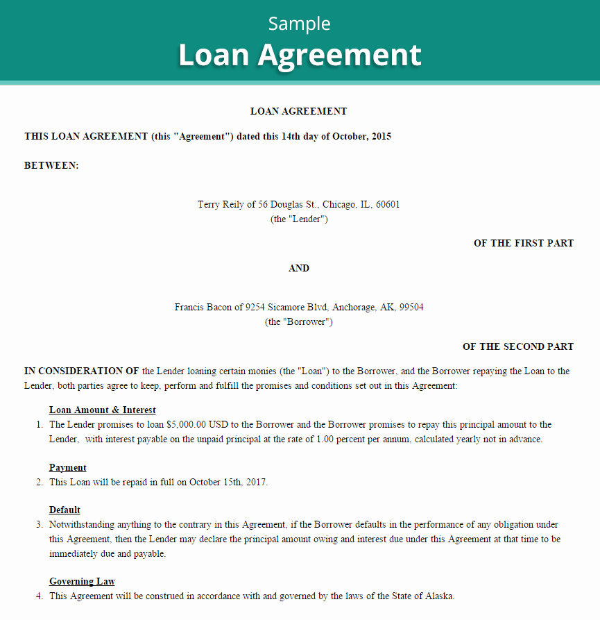 Personal Loan Contract Template Lovely 20 Loan Agreement Templates Word Excel Pdf formats