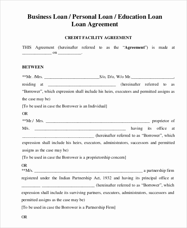 Personal Loan Contract Template Luxury Loan Agreement Template 21 Free Word Pdf format