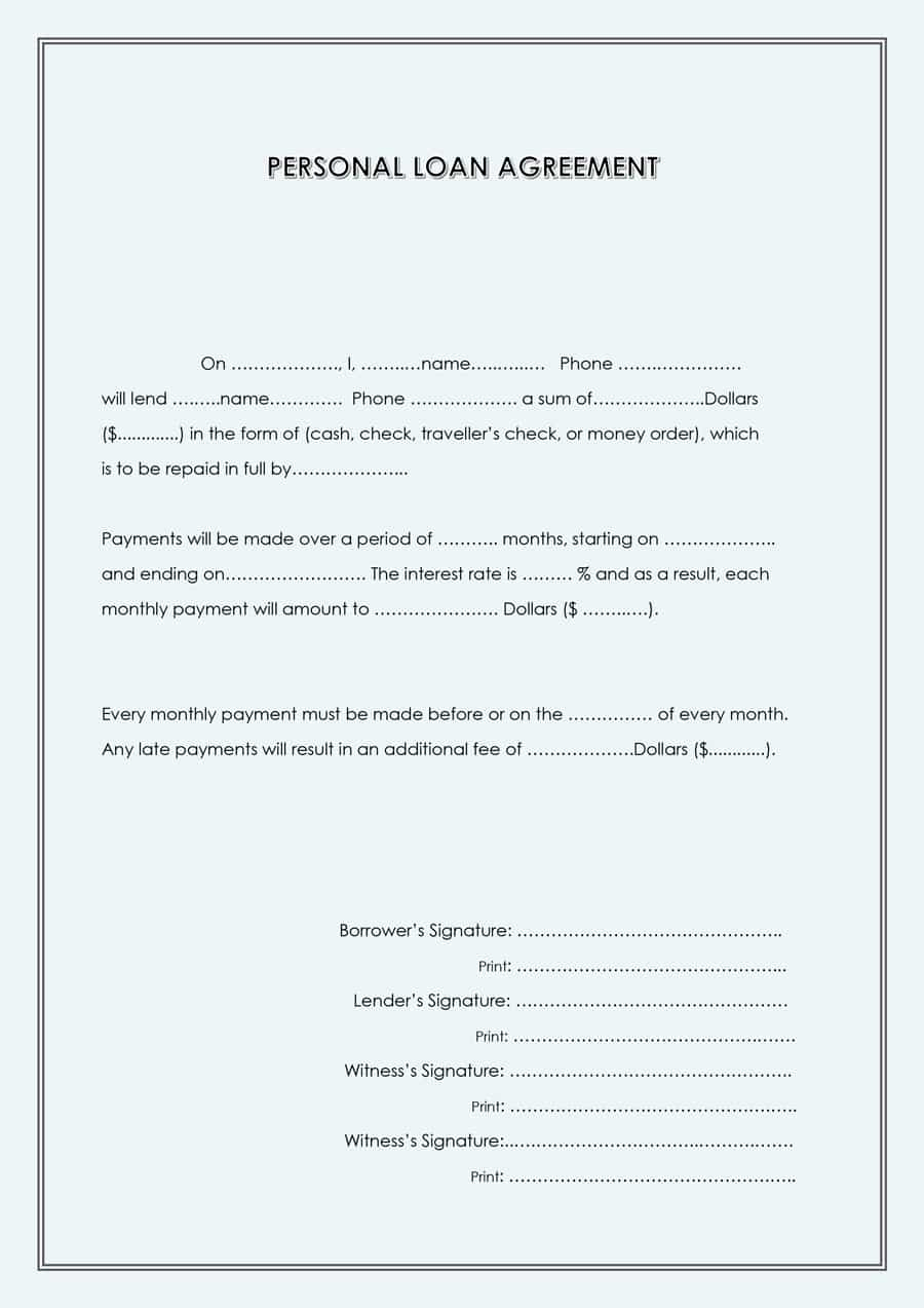 Personal Loan Contract Template Unique 40 Free Loan Agreement Templates [word & Pdf] Template Lab