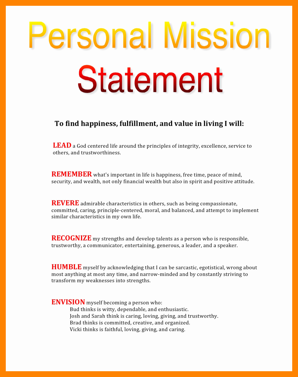 Personal Mission Statement Template Awesome 11 Mission Statements Examples