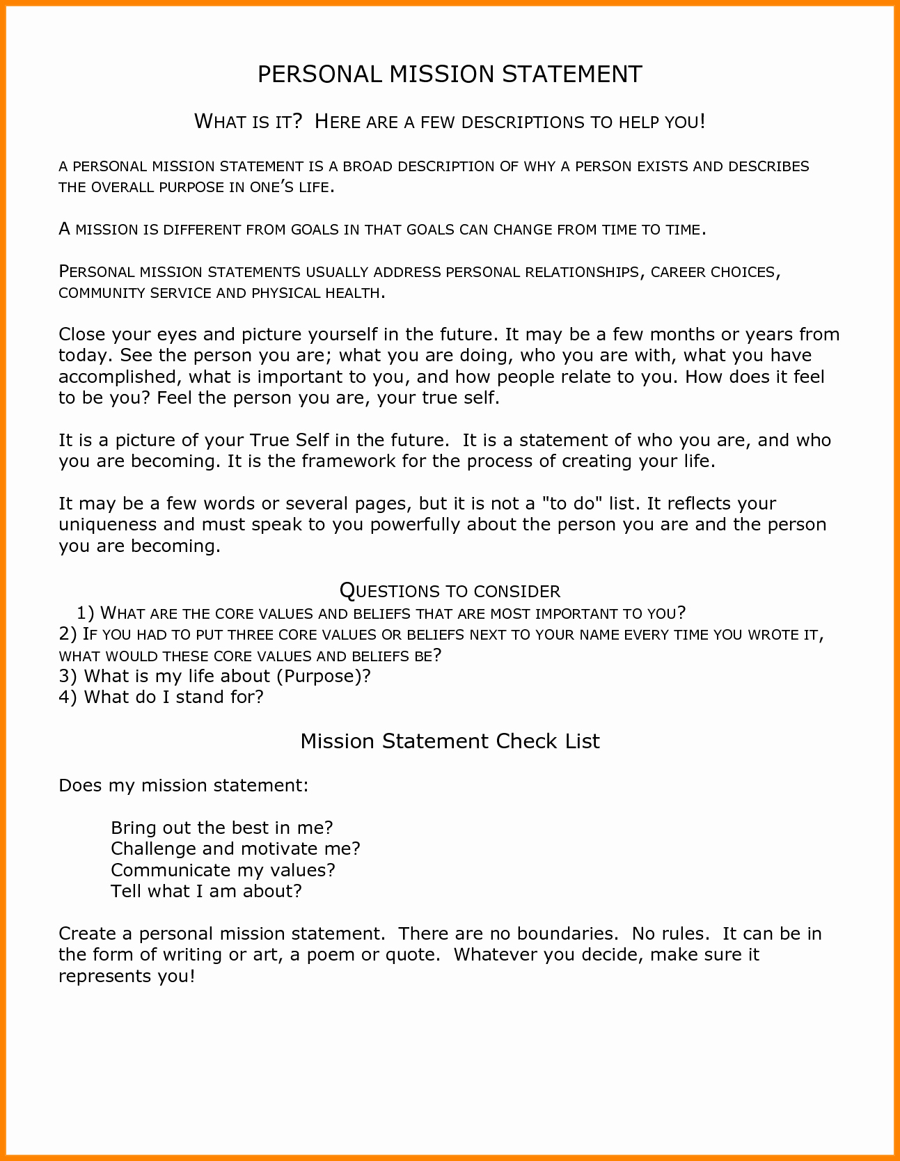 Personal Mission Statement Template Beautiful 7 Examples Of Personal Mission Statement