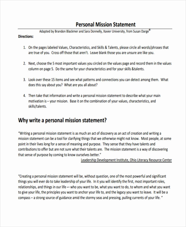 Personal Mission Statement Template Elegant 53 Mission Statement Examples & Samples Pdf Word